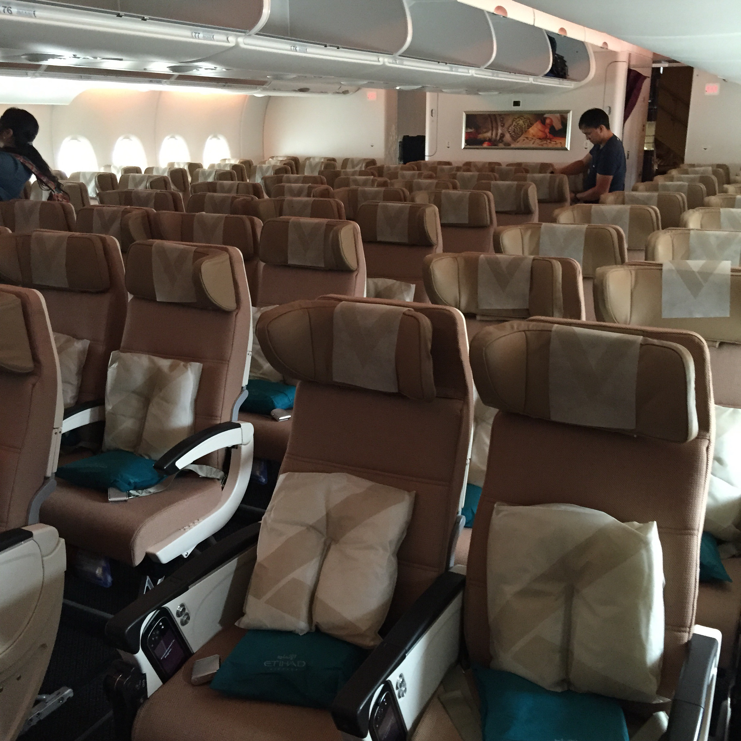Etihad Airways A380 London Heathrow To Abu Dhabi Economy Cabin