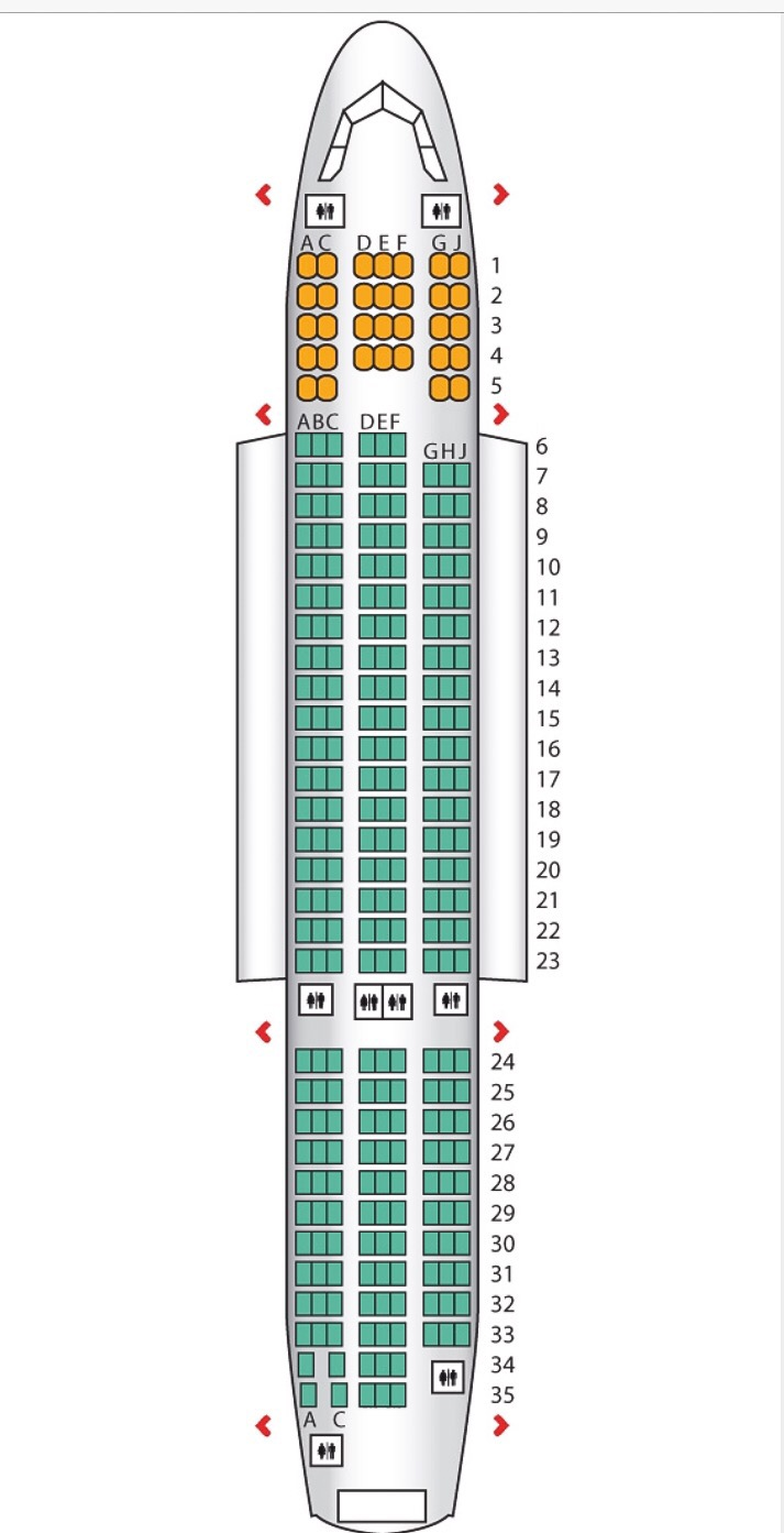 Norwegian airways Dreamliner seat map