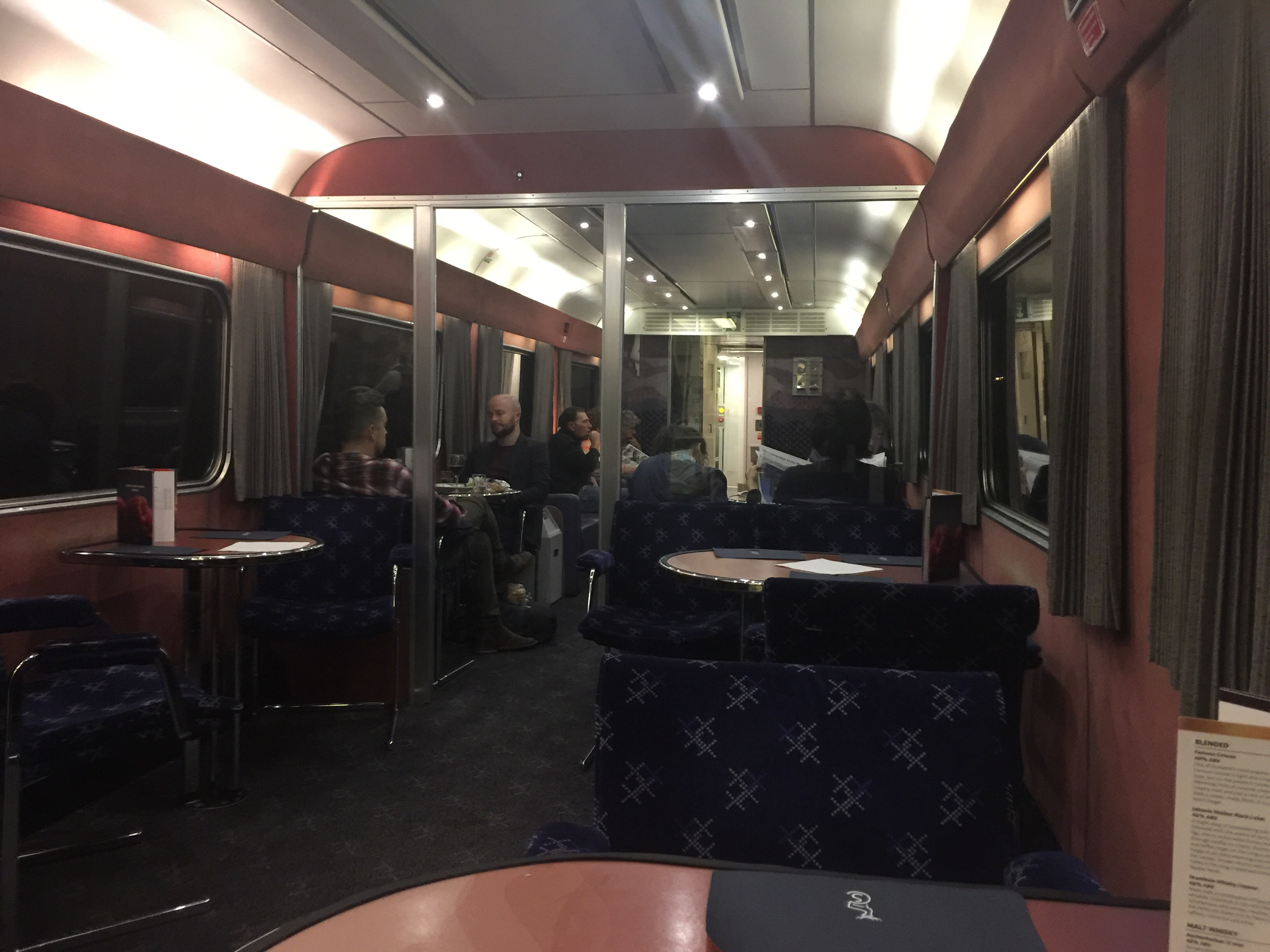 Dining car on the Caledonian sleeper