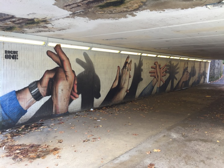 hand shadow puppets rogue one street art