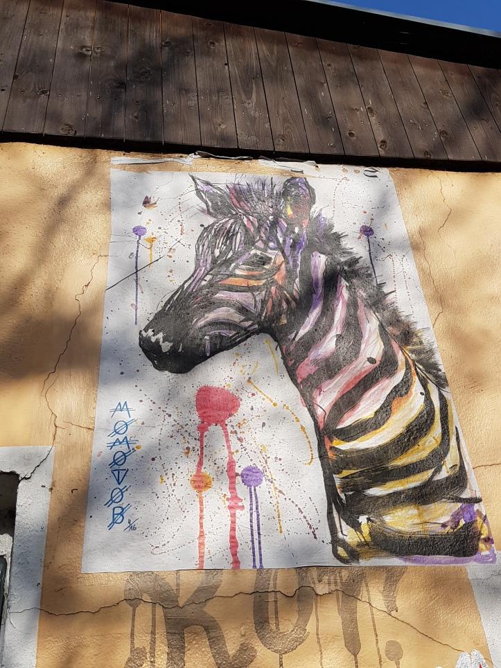 Zebra street art by Momtobo