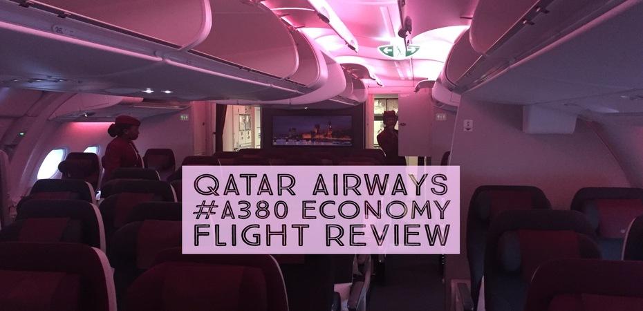 Qatar Airways A380 London Heathrow To Doha Economy Cabin