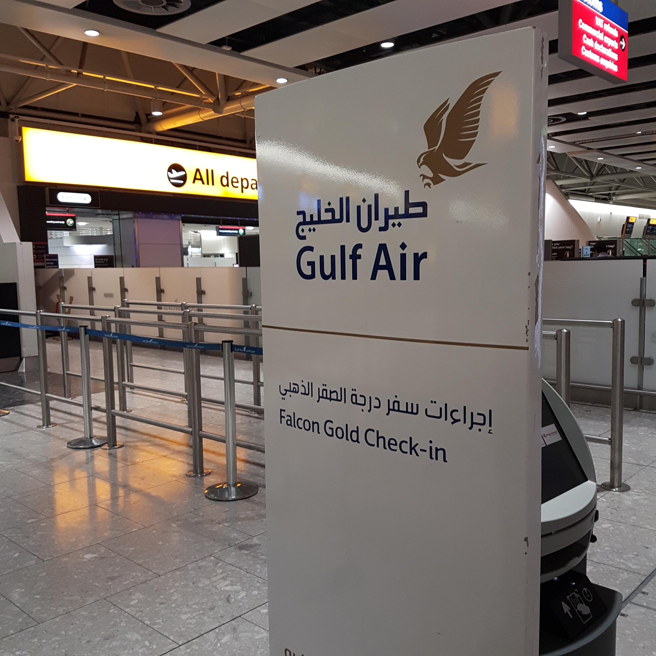 Gulf air falcon gold check in London Heathrow