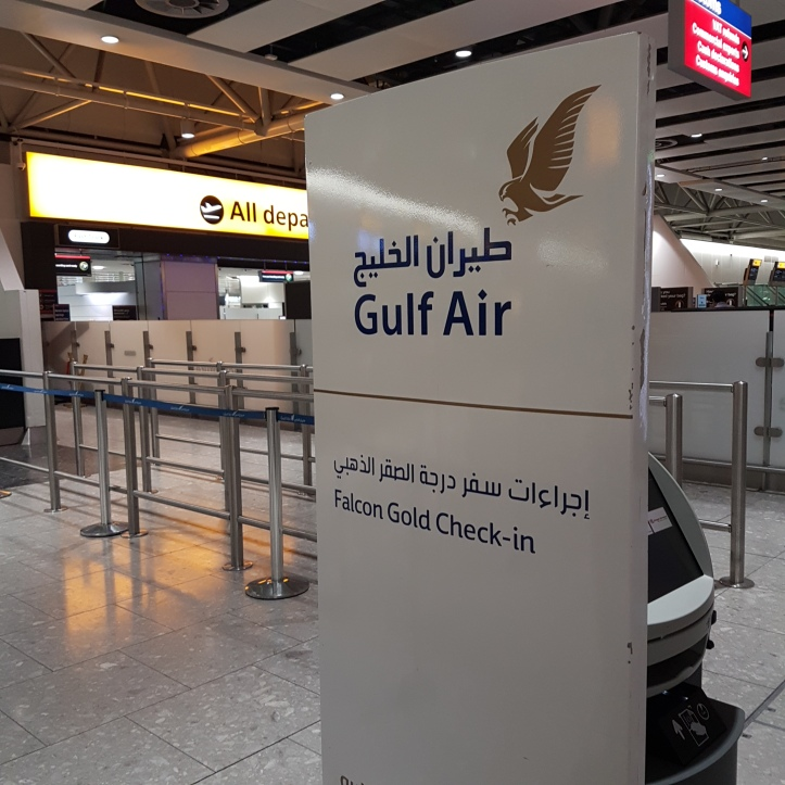 Gulf air falcon gold check in London Heathrow