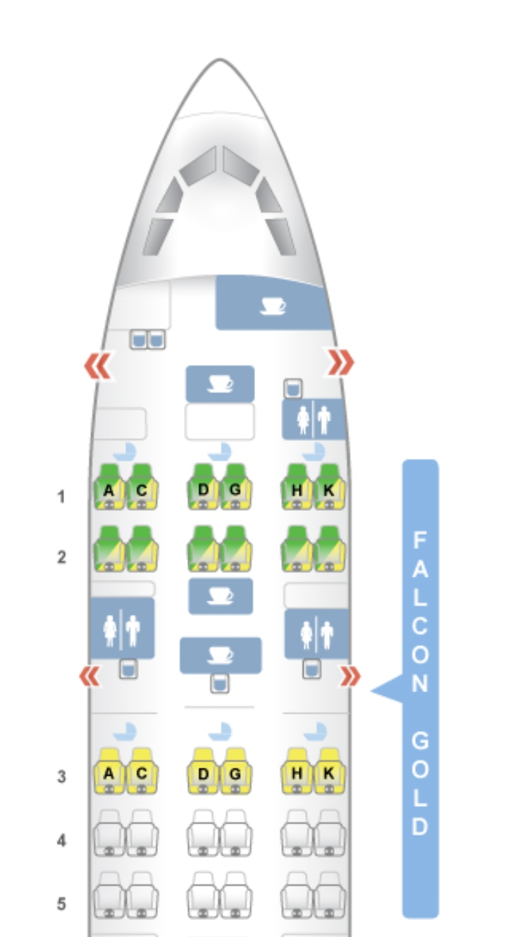 Gulf Air A330 seat map Falcon gold cabin
