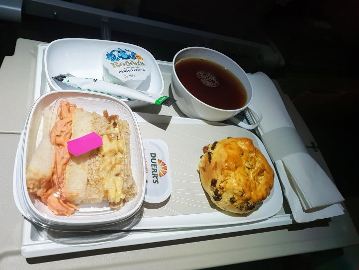 Emirates economy cabin afternoon tea