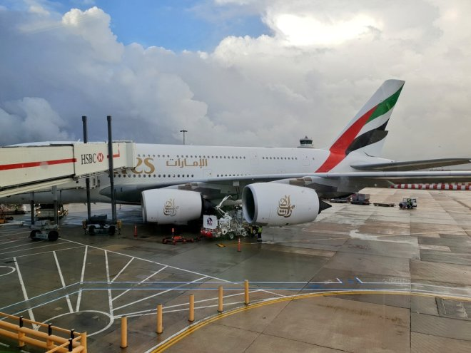 Boarding on Emirates A380
